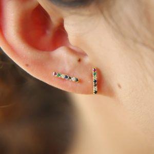 CLOSET REHAB Jewelry - Rainbow CZ Bar Stud Earrings